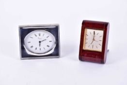 A 20th-century Asprey silver fronted bedside quartz alarm clock, London 1985, the clock with