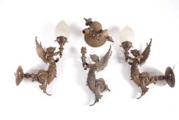 A set of three bronze wall sconces, formed as mythical winged figures, two with globes, 43 cm