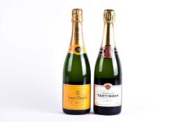 Two boxed bottles of Champagne: Veuve Clicquot Ponsardin and Taittinger, each 70 cl.Qty: 2
