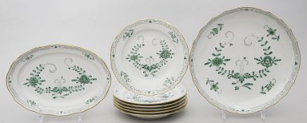 Sechs Teller, Gebäck- und ovale Schale, Meissen,