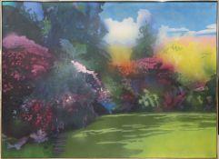 """Schiefer, Kuno (1948 Stuttgart - Sao Paulo 1992) """"Mein Garten"""", so verso betitelt sowie sign. Öl/Lwd"""