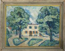 Unbekannter Maler (20. Jh.) Ansicht eines Hauses im Sommer. Öl/Lwd. (li. Rand kl. Loch). 52x 65 cm.