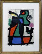 """Miró, Joan (1893 Barcelona - Palma 1983) """"Derrière le mirroir"""". Farblithographie/Papier. PP.-Ausschn"""