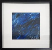 """Unbekannter Maler (20/21. Jh.) Abstrakte Komposition in Blau. Mischtechnik, re. u. sign. """"Col"""". Sich"""