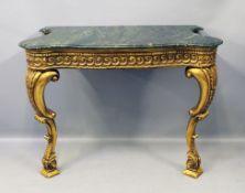 Prunkkonsole im Stil Louis XV. Holz, vergoldet. Geschnitzte Zierornamente (teils best., bzw. 1 Fehls