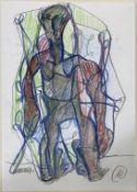 Lüpertz, Markus (geb. 1941 Reicheberg) Abstrakte Darstellung eines stehenden Mannes. Buntstift/Bleis