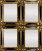 Satz von vier kleinen Prunkspiegeln. Holz/Stuck, vergoldet bzw. schwarz gelackt. Facettiertes Spiege
