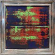 Unbekannter Maler (um 1995) Abstrakte Komposition in Blau, Rot und Grün. Acryl/Lwd., verso unleserli