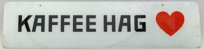 "Hinterglasschild ""Kaffee Hag""."