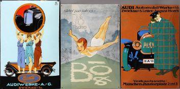 """3 Emailschilder: 2x """"Audi"""" und """"BO Radio""""."""