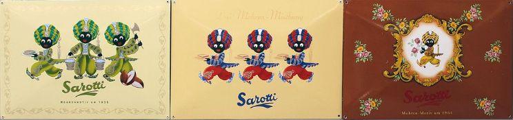 """3 Emailschilder """"Sarotti""""."""