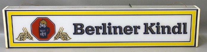 """Leuchtreklame """"Berliner Kindl""""."""