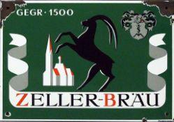 """Emailschild """"ZELLER-BRÄU gegr. 1500""""."""