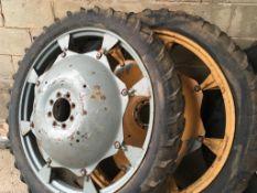 Pair of 6.50 x 44 rowcrop Wheels c/w MF