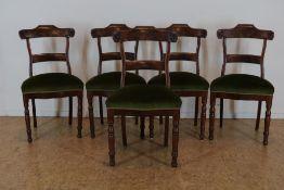 Serie van 5 Victoriaanse stoelen