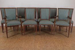 Set van 10 eiken stoelen