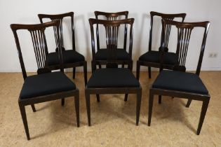 Set van 6 mahonie stoelen