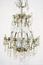 Bronzen 11 lichts hangkroon met pegels