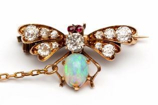 14krt. Gouden vlinderbroche, 19e eeuw,