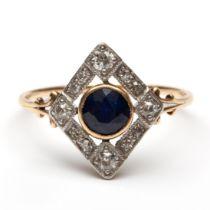Gouden en zilveren ring, Art-Deco,