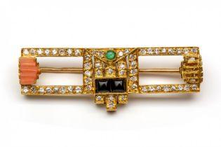 18krt. Gouden broche in Art-Deco stijl,
