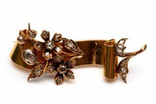 18krt. gouden broche, 19e eeuw,