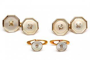 Paar 14krt. gouden manchetknopen en twee boordknopen, Art-Deco.
