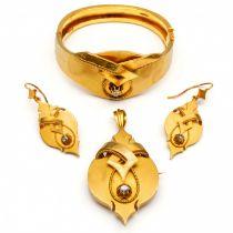 14krt. Gouden demi-parure, ca 1860-1880,