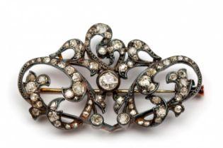 Gouden en zilveren broche, Art-Nouveau,