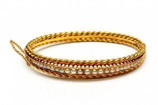 14krt. Gouden stijve armband, 19e eeuw,