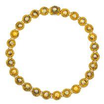 """14krt. gouden """"bootjes""""collier, 19e eeuw,"""