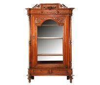 Walnut veneer 1-door display cabinet