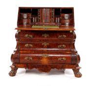 Burr walnut veneer on oak 3-load double-curved flap desk