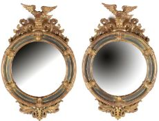 2 Round mirrors in Empire style