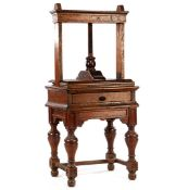 Oak linen press with drawer