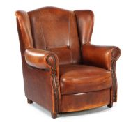 English sheep leather wingback chair