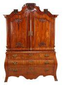 Mahogany on oak Louis Seize cabinet