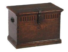 Antique oak box with wrought iron beaten