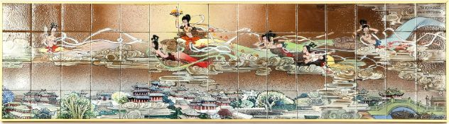 Earthenware tile tableau consisting of 60 tiles with an Asian scene, in a metal frame total 40x147
