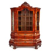 Burr walnut veneer 2-part china cabinet with 3-drawers