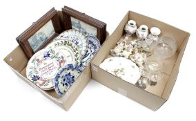 2 boxes with porcelain and earthenware including Porceleyne Fles Delft, Petrus Regout tiles in frame