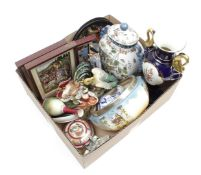 Box with various porcelain and pottery including statues, vases, tiles, etc.