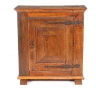 18th century oak 1-door cabinet standing on slipper legs