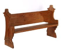 Antique pine pew with carved decor