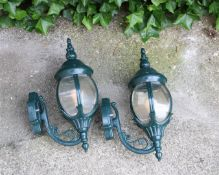 2 green lacquered aluminum outdoor lanterns