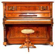 Piano in a walnut with burr walnut veneer case