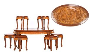 Oriental coffee table and 6 stools
