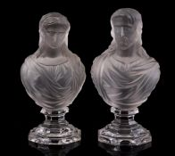 2 Baccarat French pressed glass busts