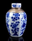 Blue and white hexagonal porcelain lidded pot