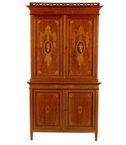 2-piece walnut veneer Louis Seize-style cupboard